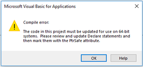 Visual Basic 64-bit error message